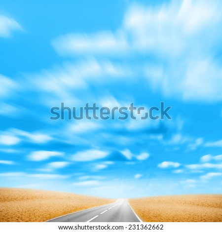 abstract scene with road in the desert - stock photo