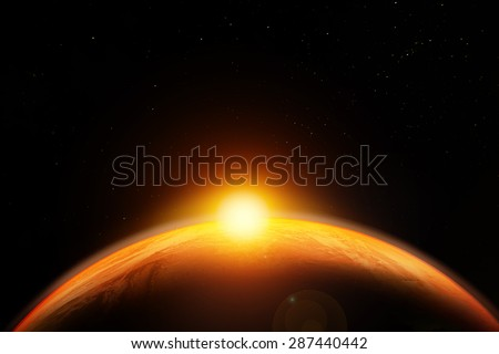 Abstract sci-fi background,Aerial view of sunrise/sunset over the earth planet. Elements of this image furnished by NASA