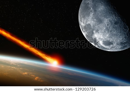 Abstract scientific background - asteroid impact planet earth, moon in space. Elements of this image furnished by NASA - stock photo
