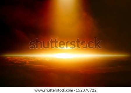 Abstract scientific background - bright yellow, orange and red lights in dark sky with clouds, spotlight from above, ufo, secret experiment