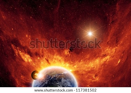 Abstract scientific background - exploding planet and planet earth in space with stars. Elements of this image furnished by NASA-JPL-Caltech - stock photo