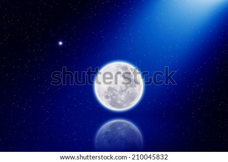 Abstract scientific background - full moon with reflection, bright stars in dark blue sky, light from above. Elements of this image furnished by NASA - stock photo