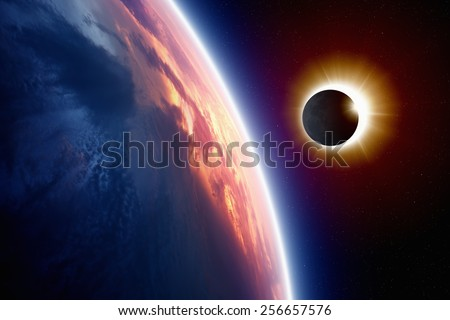 Abstract scientific background - planet Earth in space, full sun eclipse. Elements of this image furnished by NASA nasa.gov - stock photo