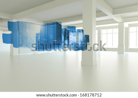 Abstract screen in room showing tower servers