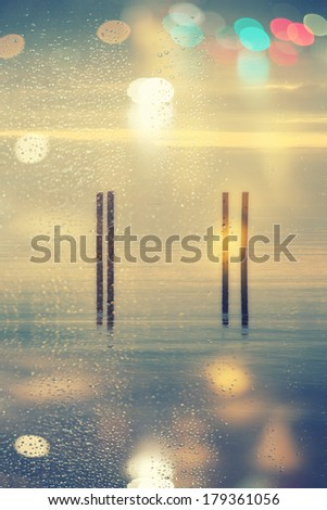 abstract sea background with lens flare - stock photo