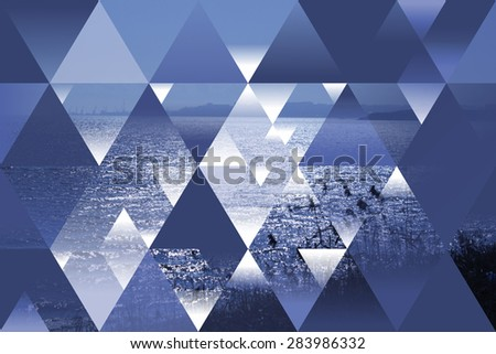 abstract sea geometric background with triangles, water, evening, sunset - stock photo