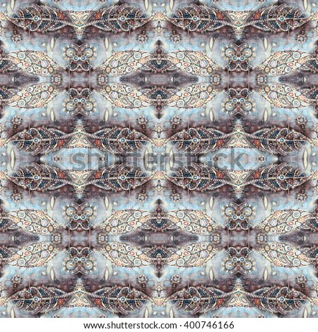 Abstract seamles pattern painted in black, brown, orange and grey tones with objects in the form of leaves. Conversation. Leaves background. - stock photo