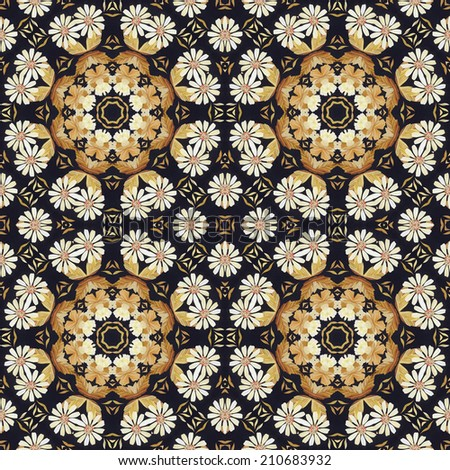 Abstract seamless artistic pattern, floral ornament, handmade applique from painted straw and bark on a black fabric background - stock photo