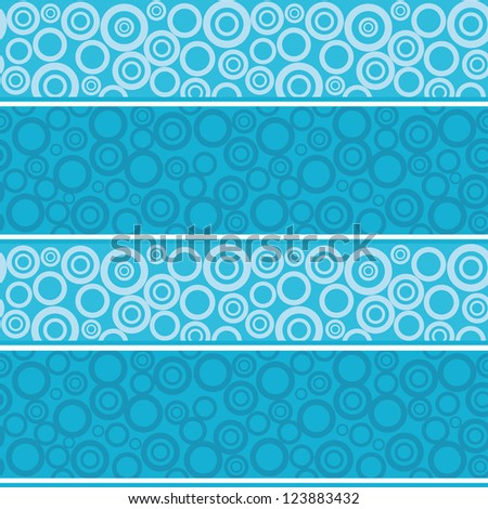 Abstract seamless background, blue rings and white lines. - stock photo