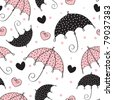 abstract seamless background with umbrella and heart - stock vector
