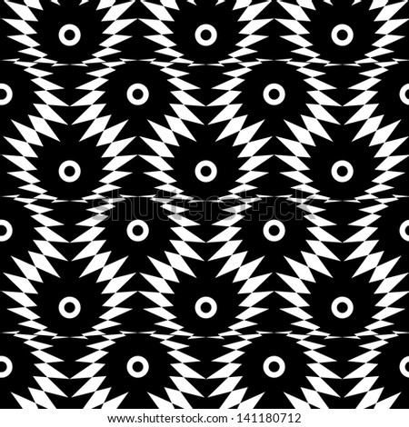 Abstract seamless black and white inverted pattern with thorny eyes. Easy to change the colors. - stock photo