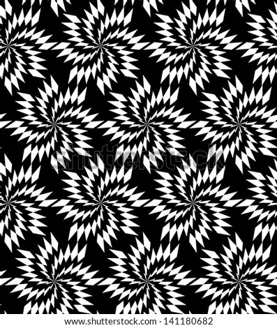 Abstract seamless black and white inverted pattern with thorny whirligigs. Easy to change the colors. - stock photo