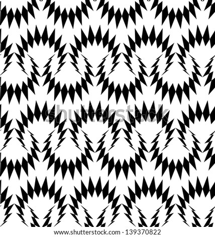 Abstract seamless black and white inverted thorny pattern - stock photo
