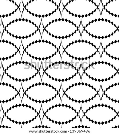 Abstract seamless black and white pattern with thorny oval - stock photo