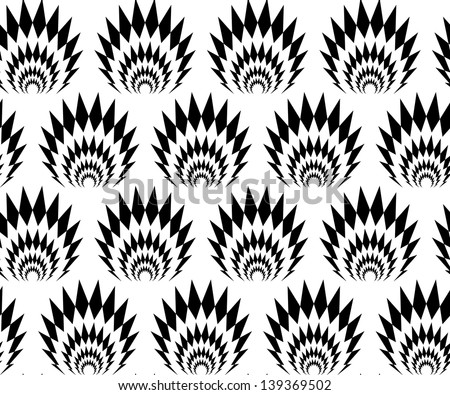 Abstract seamless black and white thorny pattern with stylized explosions - stock photo