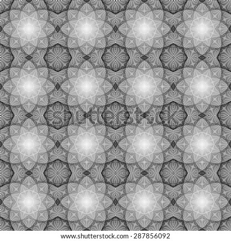 abstract seamless black white pattern with black line with grey wave with gray band isolated on white background. raster illustration - stock photo