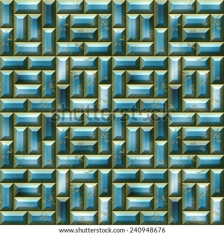 Abstract seamless blue pattern with 3d mosaic - stock photo