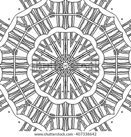 abstract seamless coloring page monochrome mandala with concentric circle pattern ornate and dreamy drawing