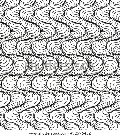 Abstract seamless floral black white background of hand drawn lines