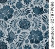 Abstract seamless floral pattern of dark blue colored hand drawn by pencil outline fantasy leaves, flowers and curly branches on a light grey grained background. Batik painting. Textile print. - stock vector