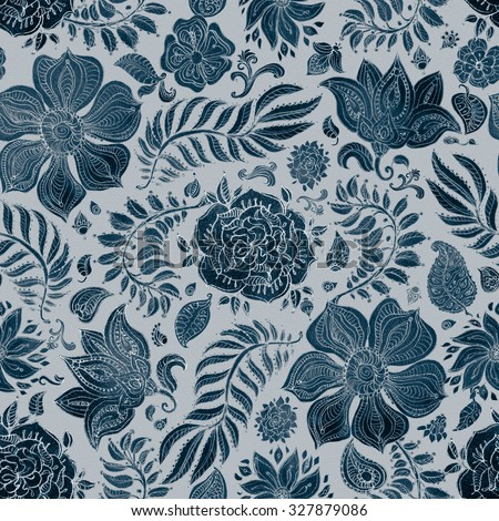 Abstract seamless floral pattern of dark blue colored hand drawn by pencil outline fantasy leaves, flowers and curly branches on a light grey grained background. Batik painting. Textile print. - stock photo