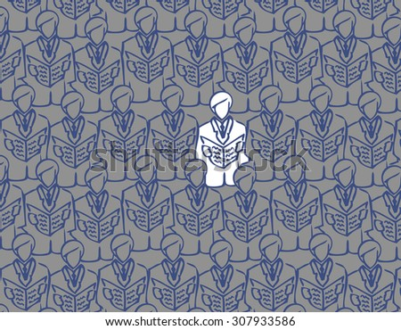 abstract seamless image of business people to open the folder. male choir open songwriters. crowd of business men. Conference. Congress. White crow. congregation. - stock photo