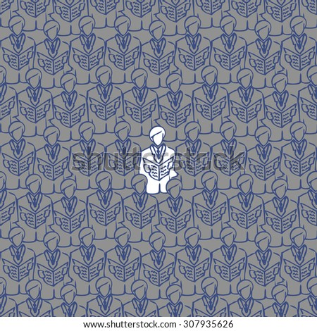 abstract seamless image of business people to open the folder. male choir open songwriters. crowd of business men. Conference. Congress. White crow. congregation - stock photo