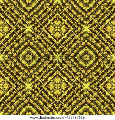 Abstract seamless kaleidoscopic pattern with squares and scalloped texture. Black and yellow stylized reptile pattern