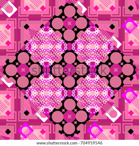 Abstract seamless modern pattern with regularly repeating geometrical grid with rhombuses, strips, rectangles in magenta, neutral and pink colors. Element for graphical design.