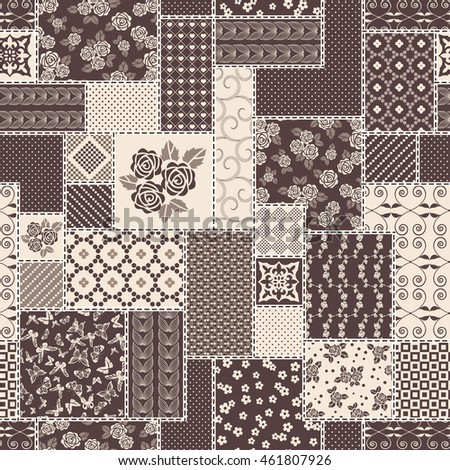 Abstract seamless patchwork pattern with geometric   ornaments,  dots and lace. Vintage boho style. Black and white