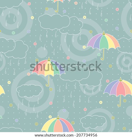 Abstract seamless pattern. Colorful umbrellas, clouds, rain drops. Rainy weather.