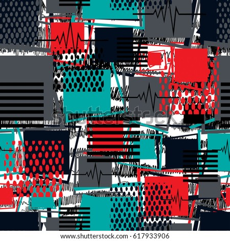 Abstract seamless pattern for girls,boys,sportswear, clothes. Creative background with square, stripes, dots, lines.Funny wallpaper for textile and fabric. Fashion style. Colorful bright.