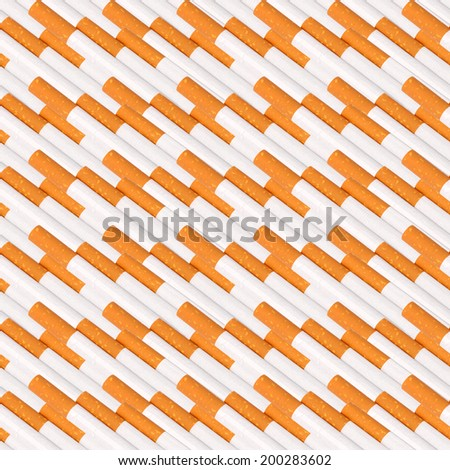 Abstract seamless pattern of cigaretts with filter. Isolated on white background. Close-up. Studio photography. - stock photo