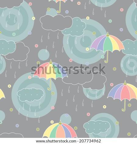 Abstract seamless pattern. Rainy weather. Rainbow umbrellas, clouds, rain drops. - stock photo