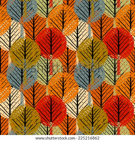 Abstract seamless pattern with autumn trees. Hand drawn ornament. Repeated background. Nature print texture. Cloth design. Wallpaper - stock photo