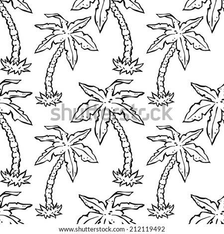 Abstract seamless pattern with cartoon tropical coconut palm trees in black and white. Floral monochrome repeating background. Endless print texture. Fabric design. Wallpaper - raster version - stock photo