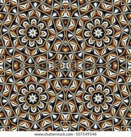 Abstract seamless pattern with circle and geometric ornament. You can use it for invitations, notebook covers, phone cases, postcards, cards, ceramics, carpets. Artwork for creative design, art.