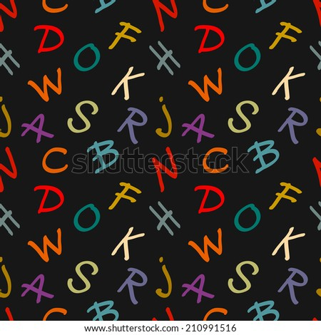 Abstract seamless pattern with colorful letters on dark background. Alphabet. Lettering. Calligraphy. Fabric, textile design. Endless silhouette print texture. Wallpaper - raster version