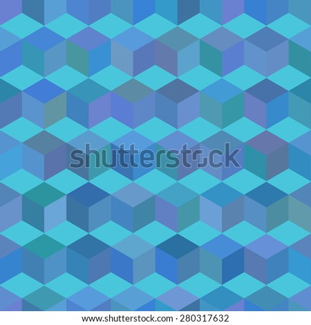 Abstract seamless pattern with cubes. Raster version. - stock photo