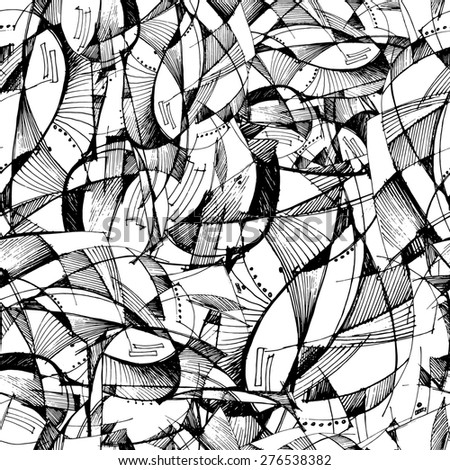 Abstract seamless pattern with fancy geometry. Hand drawing. - stock photo