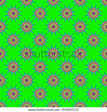 Abstract seamless pattern with fractal star on bright green background. - stock photo