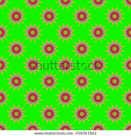 Abstract seamless pattern with fractal star on light green background. - stock photo