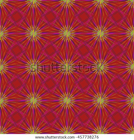 Abstract seamless pattern with multibeam furry fractal star on a dark red background. - stock photo