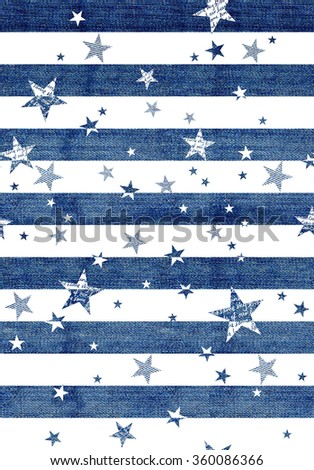 Abstract seamless pattern with the jeans textured stars, stripes. white background. - stock photo