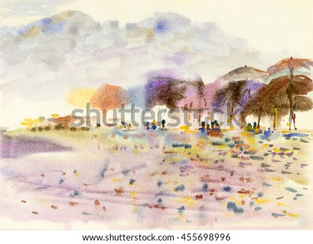 Abstract  seascape watercolor original painting colorful of people on the beach and a   mountain background.  - stock photo