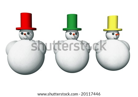 Abstract seasonal and holiday background with snowmen over white