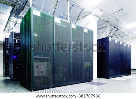 abstract server room with binary matrix code in supercomputer - stock photo