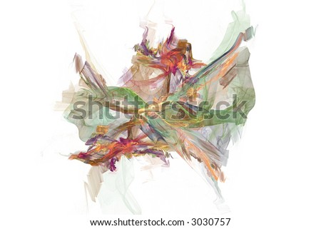 Abstract shape in a form of fairy butterfly over white - stock photo