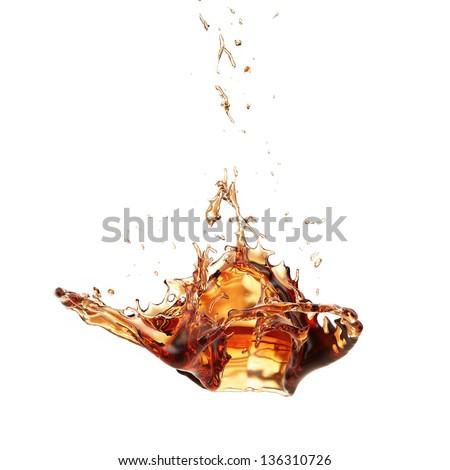 Abstract Shape, Liquid, Ice tea Isolated on White Background - stock photo