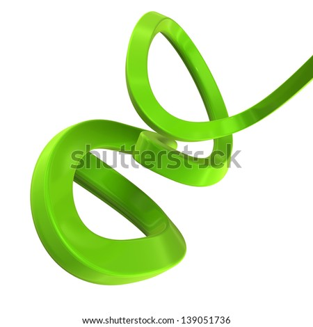 abstract shape made of green plastic isolated on white